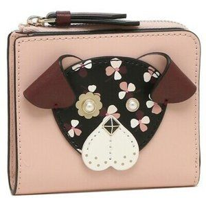 KATE SPADE Floral Pup Small L-Zip Bifold Wallet